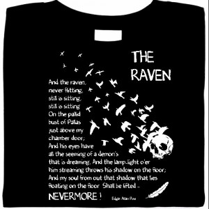 literary shirts, smart t-shirts, funny shirts, The Raven, Edgar Allen Poe